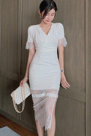 BACKORDER - Santoria V-Neck Lace Hem Dress In White