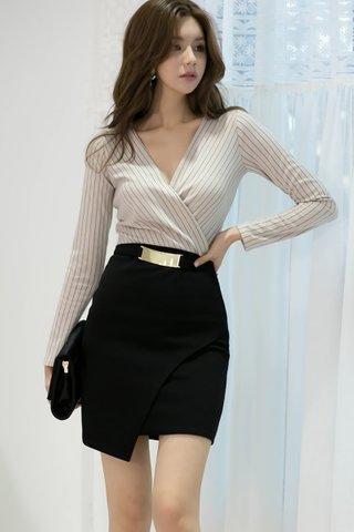 BACKORDER - Serlin V-Neck Striped Asymmetrical Hem Dress