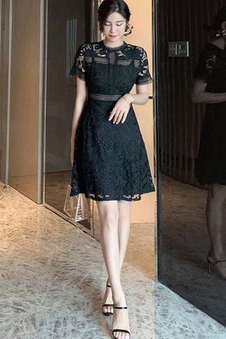 BACKORDER - Tracy Floral Crochet Dress In Black & White