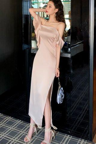 BACKORDER - Adrealle Cold Shoulder Cascade Ruffle Dress
