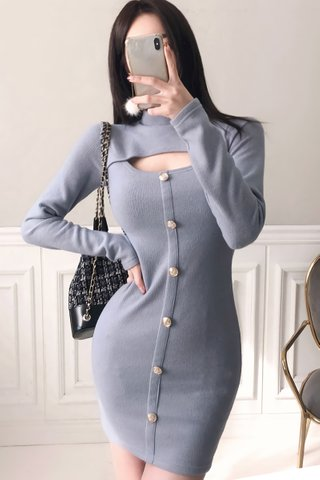BACKORDER - Aleona Choker Keyhole Mini Dress In Grey