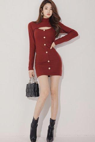 BACKORDER - Aleona Choker Keyhole Mini Dress In Wine Red