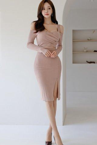 BACKORDER - Alistine Cold Shoulder Cut Out Slit Dress