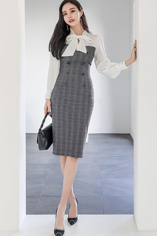 BACKORDER - Allyne Ribbon Tie Plaid Dress