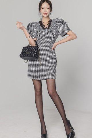 BACKORDER - Charcie Crochet V-Neck Puff Sleeve Dress