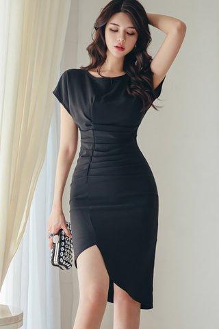 BACKORDER - Chelsea Ruched Asymmetrical Dress