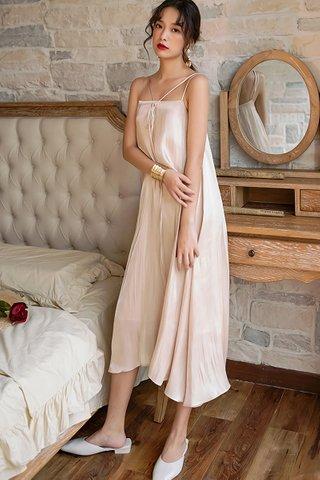 BACKORDER - Danella Ribbon Tie Flow Dress In Champagne