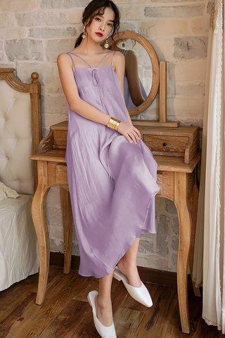BACKORDER - Danella Ribbon Tie Flow Dress In Lavender