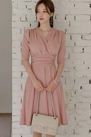 BACKORDER - Daphne V-Neck Gathered Dress