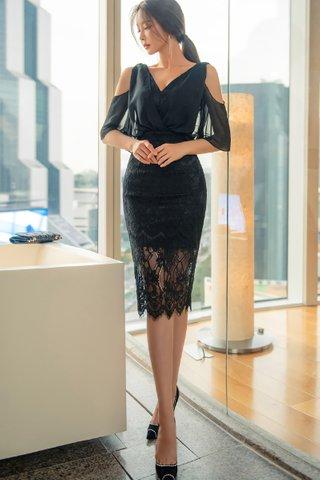 BACKORDER - Deborah Sleeve Cutout Lace Dress