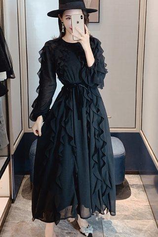 BACKORDER - Delisa Cascade Ruffle Maxi Dress In Black