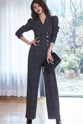 BACKORDER - Dellora Plaid Double Breasted Jumpsuit