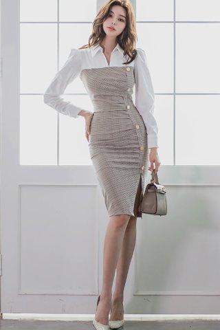 BACKORDER - Elverin Collar Plaid Slit Dress