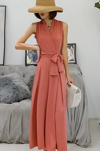 BACKORDER - Farah Ribbon Tie Jumpsuit In Pink