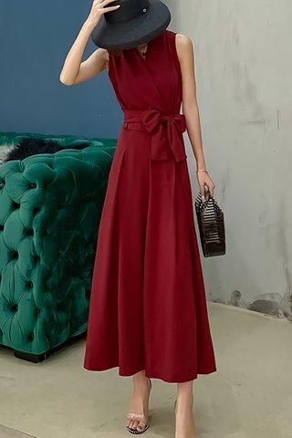 BACKORDER - Farah Ribbon Tie Jumpsuit In Wine Red