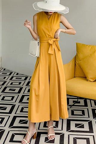 BACKORDER - Farah Ribbon Tie Jumpsuit In Yellow
