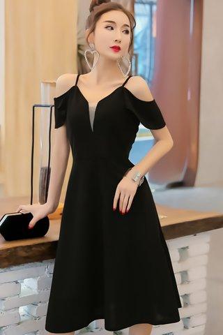 BACKORDER - Felstina Cold Shoulder A-Line Dress In Black