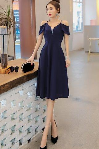 BACKORDER - Felstina Cold Shoulder A-Line Dress In Blue