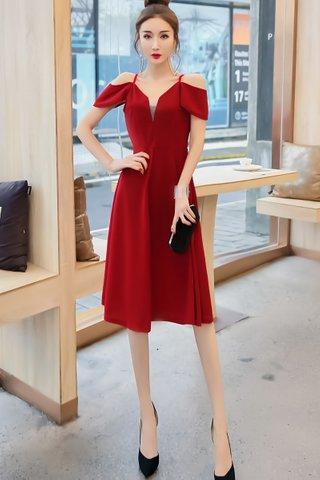 BACKORDER - Felstina Cold Shoulder A-Line Dress In Red