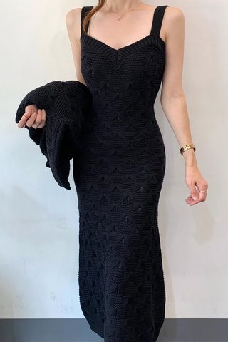 BACKORDER - Jacquin Strap Midi Knit Dress Or Outerwear In Black
