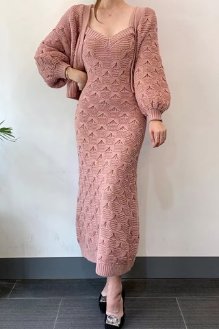 BACKORDER - Jacquin Strap Midi Knit Dress Or Outerwear In Dusty Pink