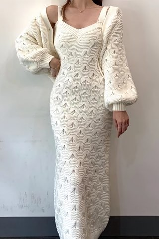 BACKORDER - Jacquin Strap Midi Knit Dress Or Outerwear In White