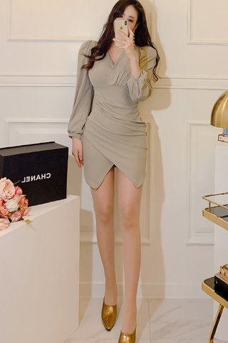 BACKORDER - Jeslia V-Neck Ruched Asymmetrical Dress