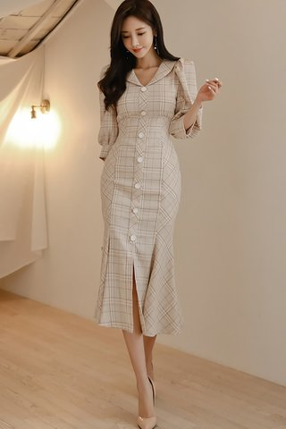 BACKORDER - Kailie Sleeve Plaid Single Breasted Dress
