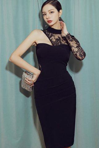 BACKORDER - Kalise One Shoulder Lace Dress In Black