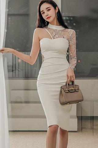 BACKORDER - Kalise One Shoulder Lace Dress In White