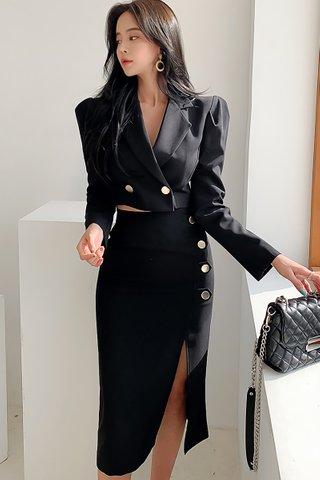 BACKORDER - Kamiae Crop Top With Side Slit Skirt Set