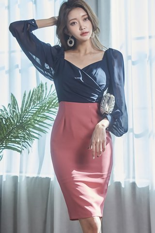 BACKORDER - Kathleen Mesh Sleeve Colorblock Dress