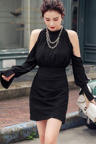 BACKORDER - Kaylor Cold Shoulder Ruched Asymmetrical Dress