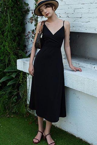 BACKORDER - Kesta V-Neck Bareback Criss Cross Dress In Black