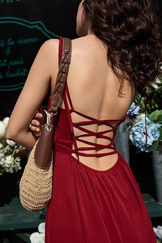 INSTOCK - Kesta V-Neck Bareback Criss Cross Dress In Red