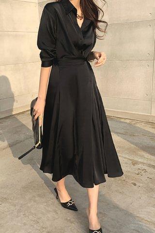 BACKORDER - Lavin Collar Sleeve Foldover Dress In Black