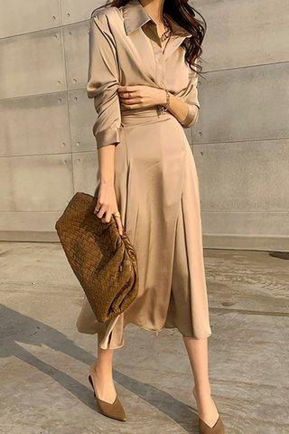 BACKORDER - Lavin Collar Sleeve Foldover Dress In Khaki