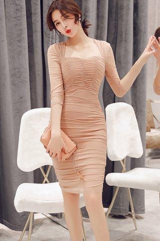 BACKORDER - Levena Sleeve Ruched Mini Dress In Beige