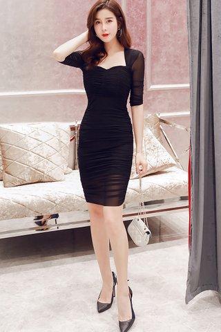 BACKORDER - Levena Sleeve Ruched Mini Dress In Black