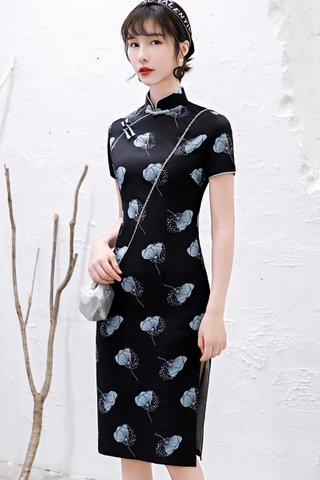 BACKORDER - Lindy Knot Button Floral Cheongsam In Black