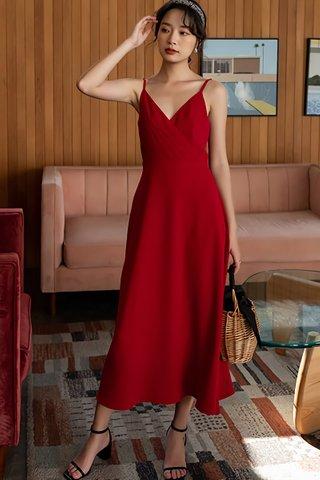 BACKORDER - Megwen Sleeveless V-Neck Dress In Red