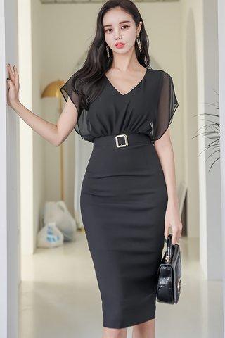 BACKORDER - Olisa V-Neck Mesh Dress In Black