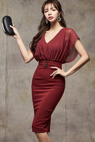 BACKORDER - Olisa V-Neck Mesh Dress In Maroon