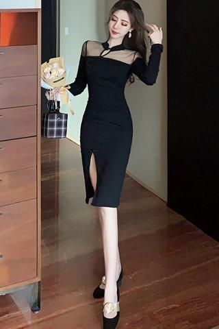 BACKORDER - Oliveira Mesh Shoulder Slit Dress In Black