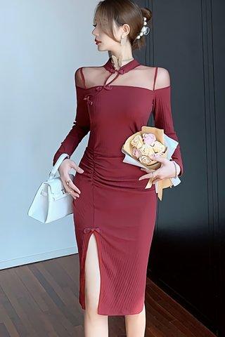 BACKORDER - Oliveira Mesh Shoulder Slit Dress In Wine Red