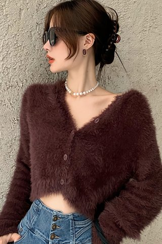 BACKORDER - Pamcy V-Neck Furry Crop Top