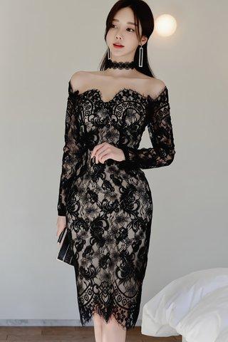 BACKORDER - Pristine Off Shoulder Lace Eyelash Hem Dress In Black