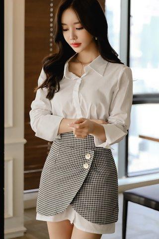 BACKORDER - Rianne Shirt Dress With Plaid Skirt Set