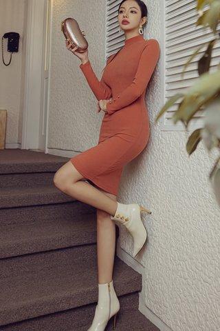 BACKORDER - Shanye High Neck Sleeve Knit Dress