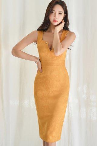 BACKORDER - Stella V-Neck Back Slit Dress In Mustard